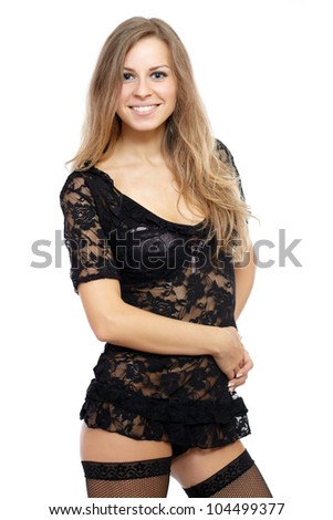 Sexy blonde woman. Isolated over white background - stock photo