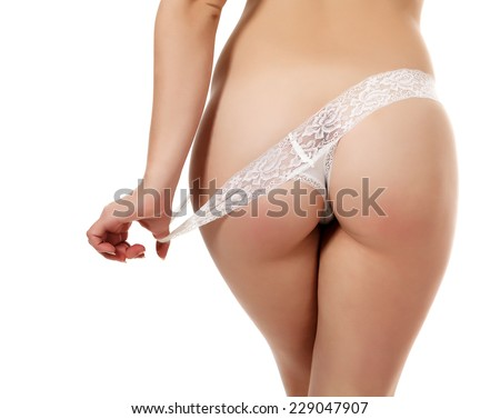 Sexy body, white background, copyspace - stock photo