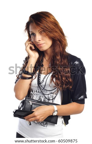 sexy brunet woman calling by cell phone and hold wallet - stock photo