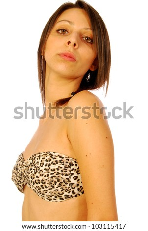Sexy brunette woman in a swimsuit 159 - stock photo