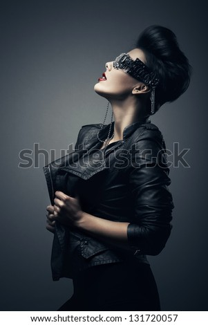 sexy brunette woman in creative glasses - stock photo