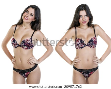 Sexy brunette woman posing in lingerie on isolated white - stock photo