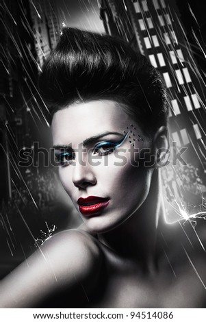 sexy brunette woman with red lips in city - stock photo