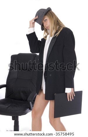 sexy businesswoman in white background - stock photo