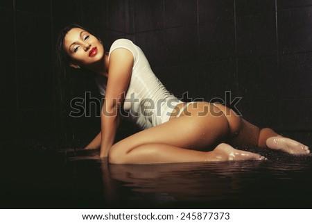sexy butt girls in underwear, studio shot - stock photo
