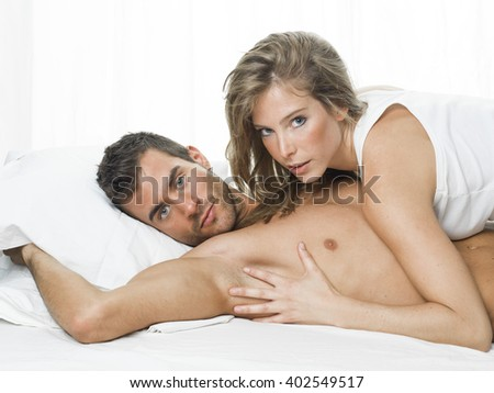sexy couple in white underwear having sex - stock photo