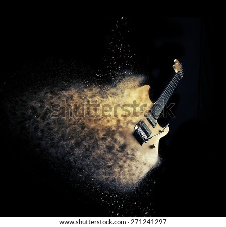 Sexy electric guitar with fusin effect natural wood - stock photo
