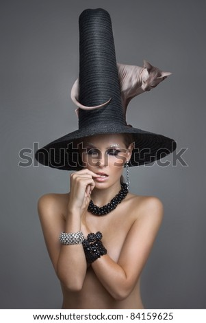 sexy fairy with a cat on a big hat - stock photo