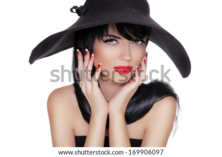 Sexy Fashion Brunette Woman Portrait in black hat isolated on White background. Makeup. Manicured nails. - stock photo