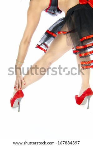 Sexy female hands  and foot in red. - stock photo