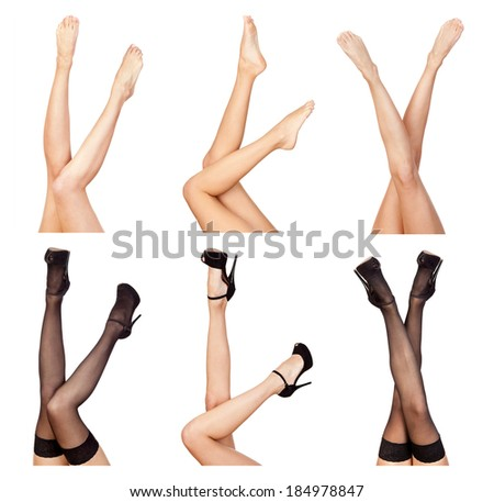 Sexy female  legs naked and  with black shoes isolated on white background. Collage. - stock photo
