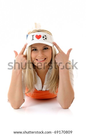 Sexy football fan woman with funny hat. isolated on white background - stock photo