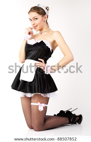 Sexy French maid. - stock photo