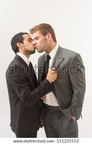 Sexy Gay Couple in Suits - stock photo