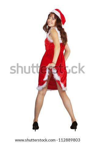 Sexy girl dressed like Snow Maiden over white background - stock photo