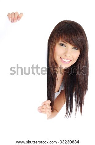 Sexy girl holding a blank billboard. - stock photo