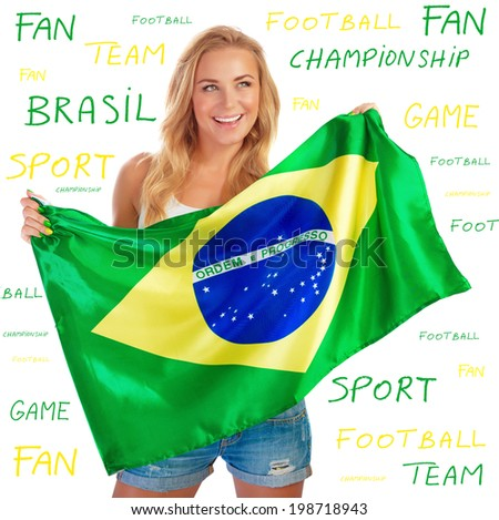 Sexy girl holding in hands Brazil flag, isolated on white background with text on it, copy space, Brazilian football team fan concept - stock photo