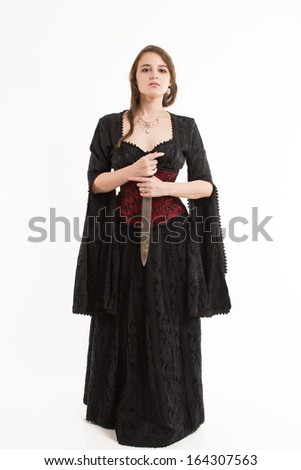 Sexy Girl in Gothic Dress - stock photo