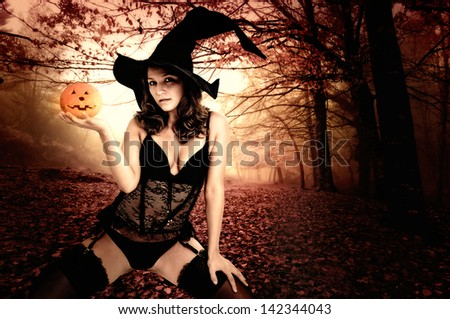 Sexy  girl in witch costume for Halloween in a forest - stock photo