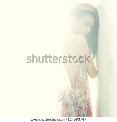 sexy girl portrait in hi-key style - stock photo