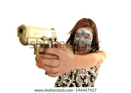 Sexy Girl with Gun - stock photo
