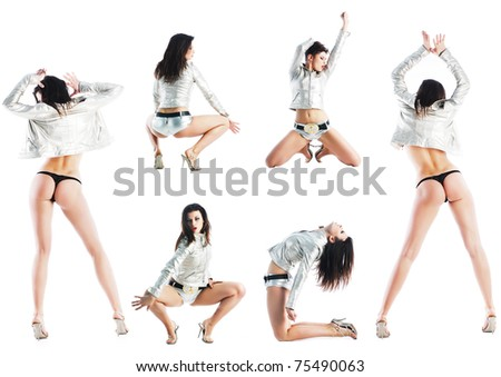 sexy glamour dancing woman - stock photo