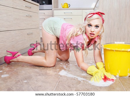 Sexy housewife, similar available in my portfolio - stock photo