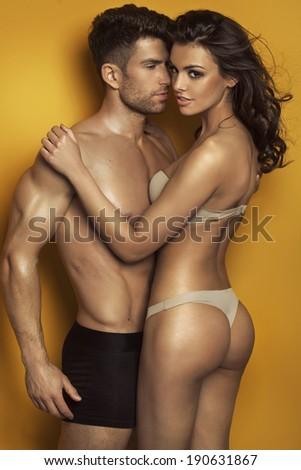 Sexy kissing couple - stock photo