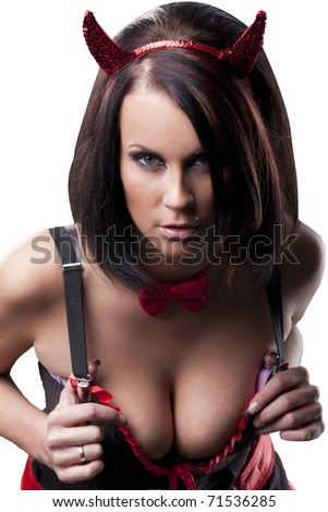 sexy lady in devils costume - stock photo