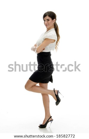 sexy lady standing on leg with white background - stock photo