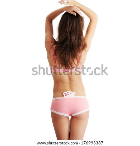 Sexy lady with poker combination over white background  - stock photo