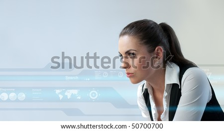 Sexy latina (Attractive young adults in futuristic interfaces / interiors series) - stock photo