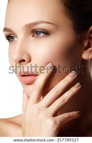 Sexy lips. Beauty natural lips makeup detail. Beautiful make-up closeup. Beautiful fashion model girl face. Perfect skin. Make up. Natural manicure - stock photo