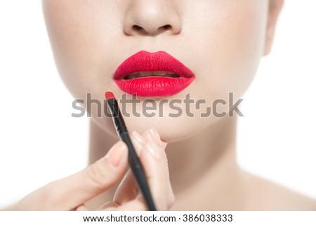 Sexy Lips. Beauty Red Lips Makeup Detail. Beautiful Make-up Closeup. Sensual Open Mouth. lipstick or Lipgloss - stock photo