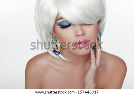 Sexy lips. Eye make-up. Fashion Beauty Girl Portrait with White Short Hair. Haircut and Makeup. Hairstyle. Vogue Style. - stock photo