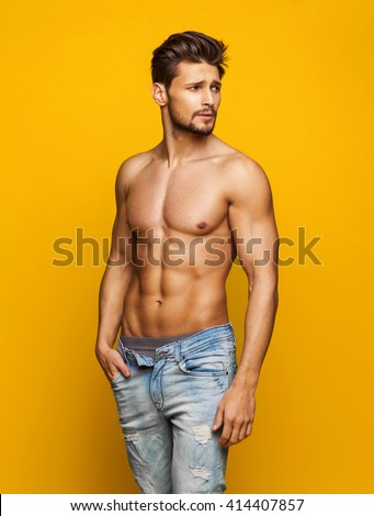 Sexy Male Model - stock photo