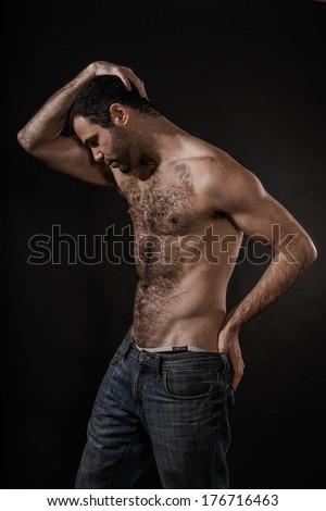 Sexy Male Posing Shirtless - stock photo