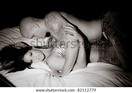 Sexy Man And Woman in Bed - stock photo