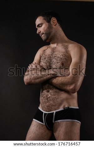 Sexy Man Crossing Arms - stock photo