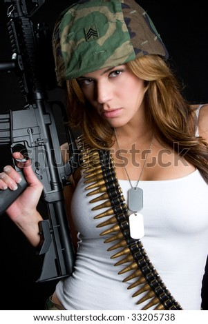 Sexy Military Woman - stock photo