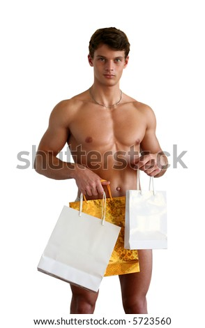 Sexy muscular man covering with shopping bags (copy space) isolated on white - stock photo