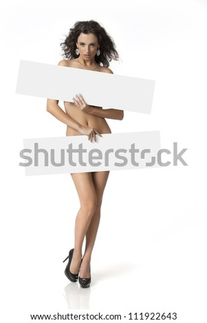 Sexy naked girl holding a banner - stock photo