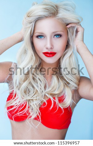 Sexy pin-up blond - stock photo