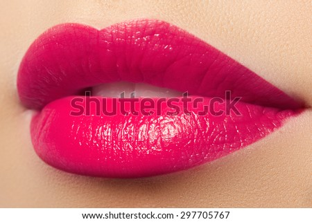 Sexy pink lips make-up. Close-up of beautiful full lips - stock photo