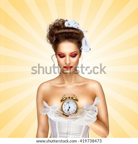 Sexy pinup bride in a vintage wedding corset holding a retro alarm clock on colorful abstract cartoon style background. - stock photo