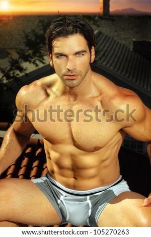 Sexy portrait of fit muscular man in underwear - stock photo