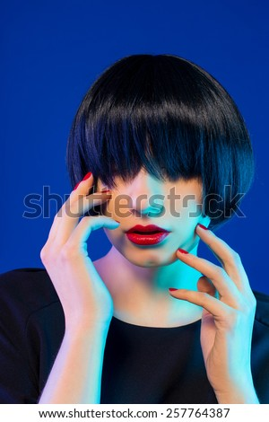 Sexy red Lips. Haircut - stock photo
