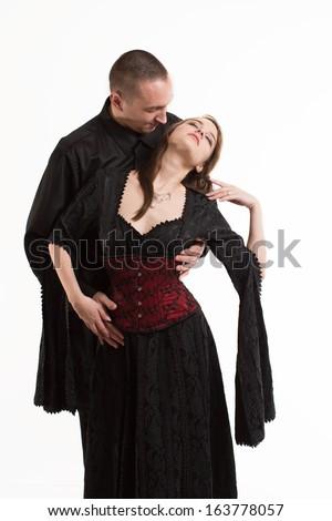 Sexy Romantic Goth Couple - stock photo