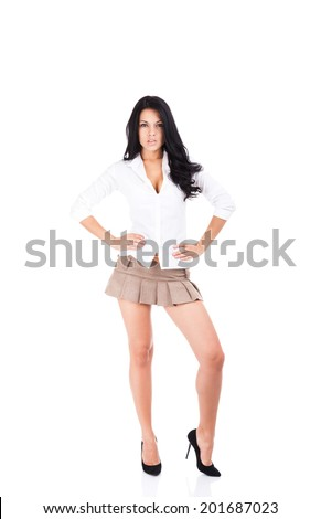 sexy school student girl in short skirt, hot brunette curly hair woman long legs high heel, full length portrait isolated over white background - stock photo