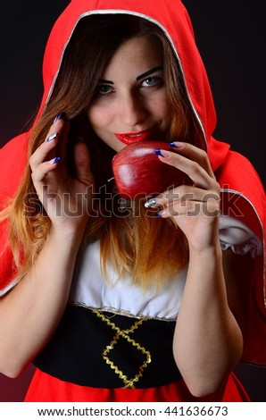 Sexy seductive Red Riding Hood Sleeping Beauty studio photo shoot - stock photo